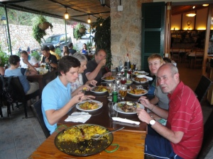 Eating Paella in Fornalutx, July 2013