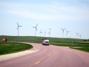 On the road to Sioux Falls - Pink Quartzite & Wind Turbines