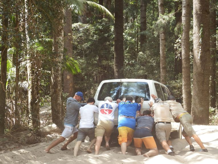 Fraser Island - Helping to Push!
